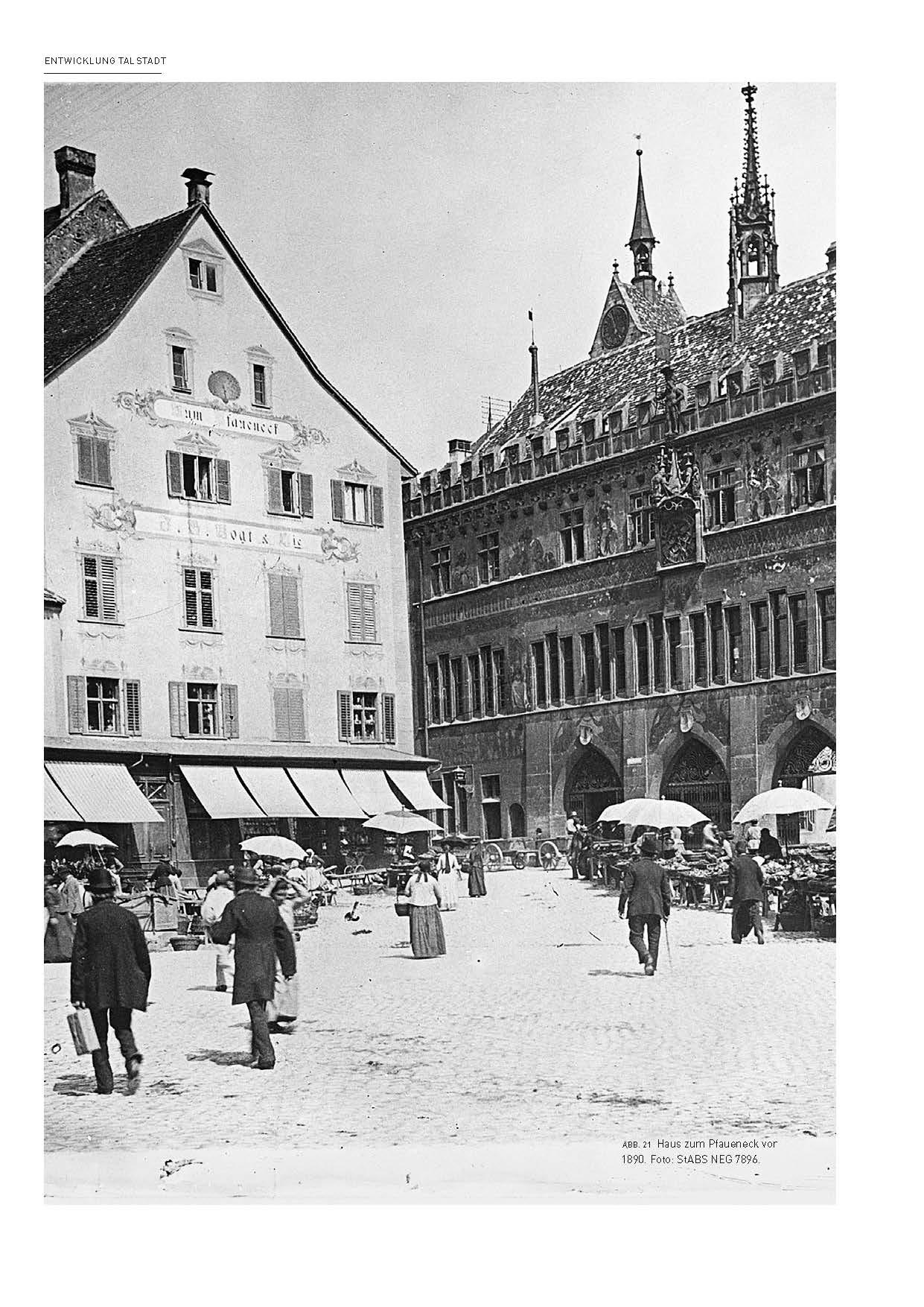 Blick auf den Basler Marktplatz, vor 1890